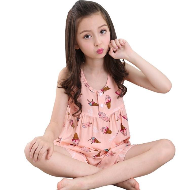 秋冬女童兒童綿綢睡衣薄款女寶寶針織背心女孩小童夏天棉綢家居服套裝