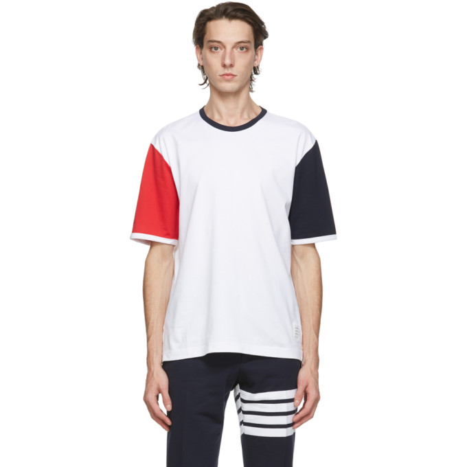 Thom Browne 白色 Ringer Contrast Sleeve T 恤