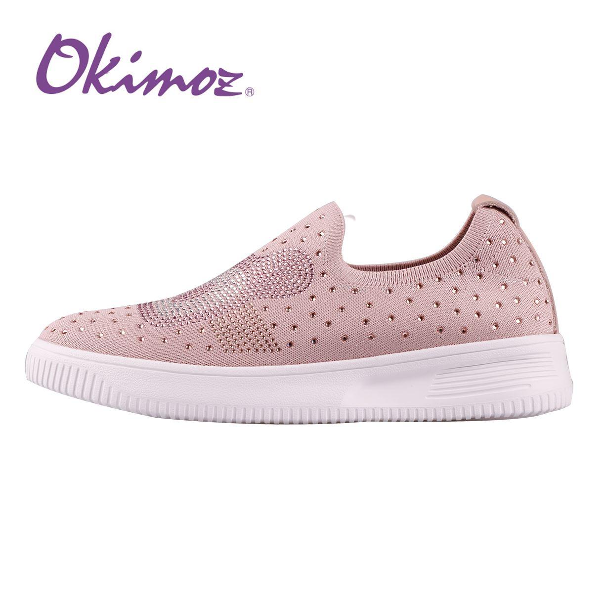 Kimo米奇設計款閃鑽針織彈力休閒鞋 女鞋(粉82040S028027)-OKIMOZ