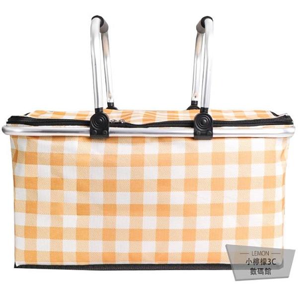 野餐墊折疊籃便攜保溫包野餐布戶外野餐用品田園式【小檸檬3C】