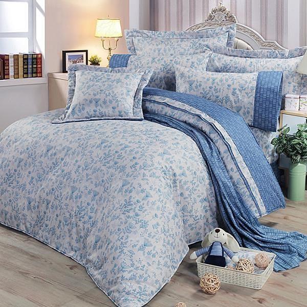 【南紡購物中心】【FITNESS】精梳棉雙人七件式床罩組-芳草幽夢(藍)