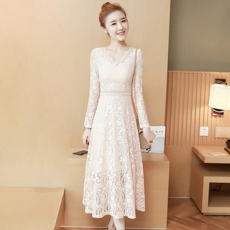 針織洋裝春秋新款女裝韓版時尚修身顯瘦氣質長袖中長款蕾絲收腰洋裝 全館免運