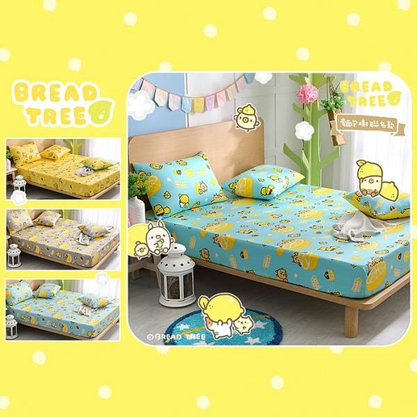 【南紡購物中心】【BREAD TREE】麵包樹 純棉單人床包+枕套二件組-檸檬派對(多款任選)