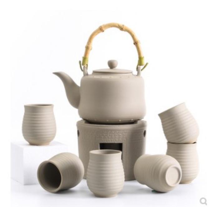 粗陶酒精煮茶爐套裝一壺六杯日式功夫茶具煮茶器酒精燈爐黑茶陶瓷