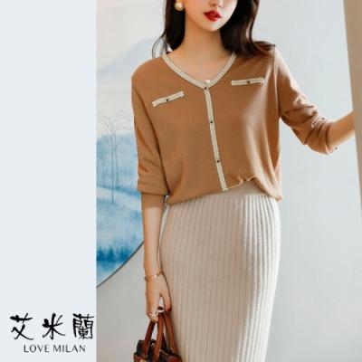 艾米蘭-韓版撞色拼接造型上衣-4色(M-XL)