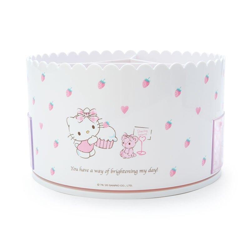 小禮堂 Hello Kitty 圓形塑膠旋轉化妝品架 旋轉抽屜盒 口紅架 瓶罐架 小物收納 (白)