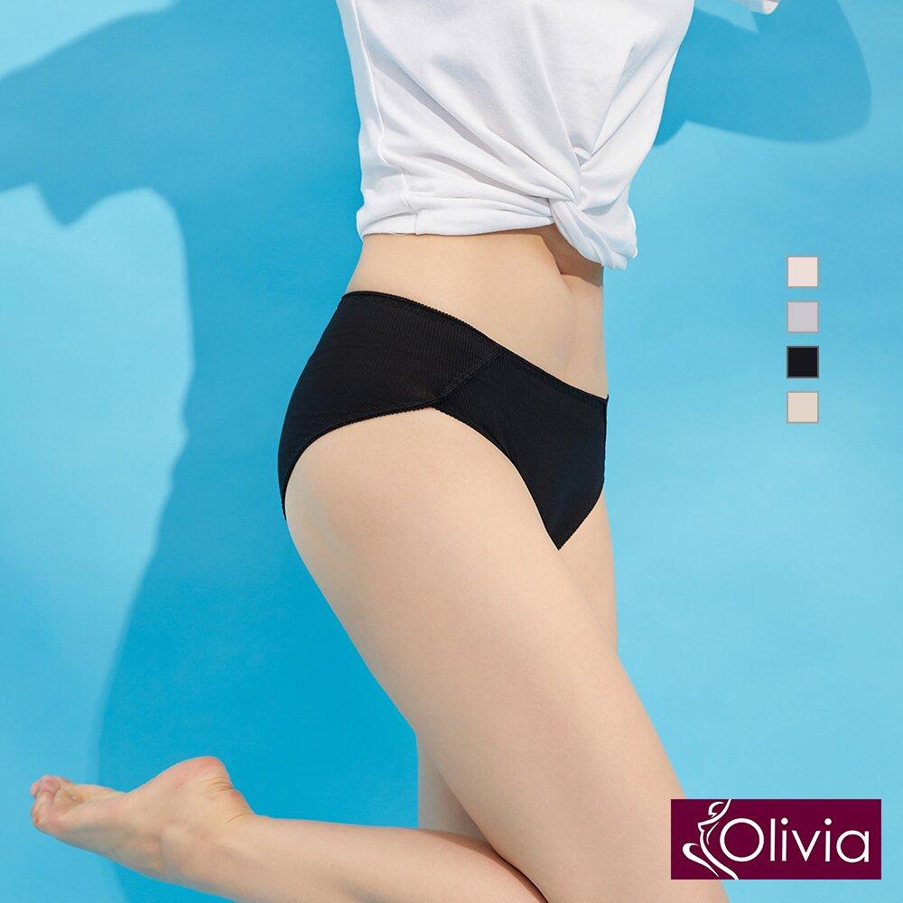 【Olivia】舒棉防漏中高腰生理褲-黑色