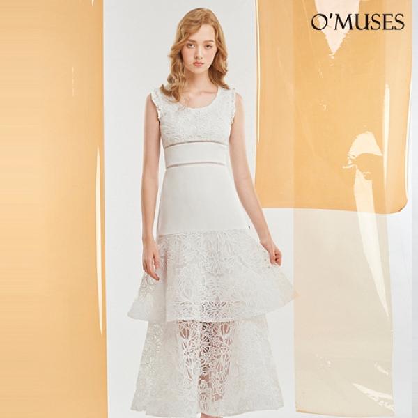 OMUSES 蕾絲刺繡簍空蛋糕裙白色洋裝長禮服
