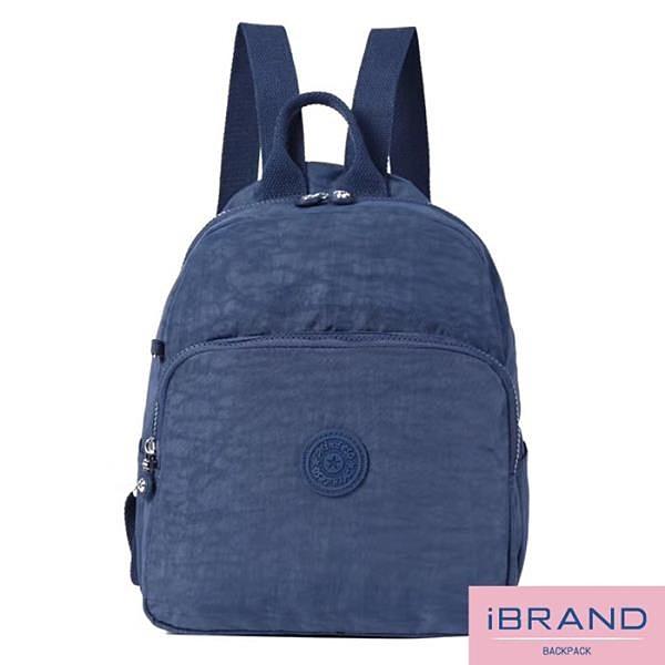 【南紡購物中心】iBrand後背包 輕盈防潑水素色大口袋尼龍後背包-寶藍色 MDS-8502