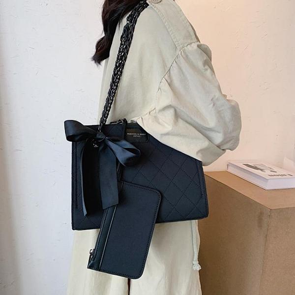 斜背包 女包2020新款潮網紅單肩斜挎包時尚百搭菱格鏈條包 阿宅便利店