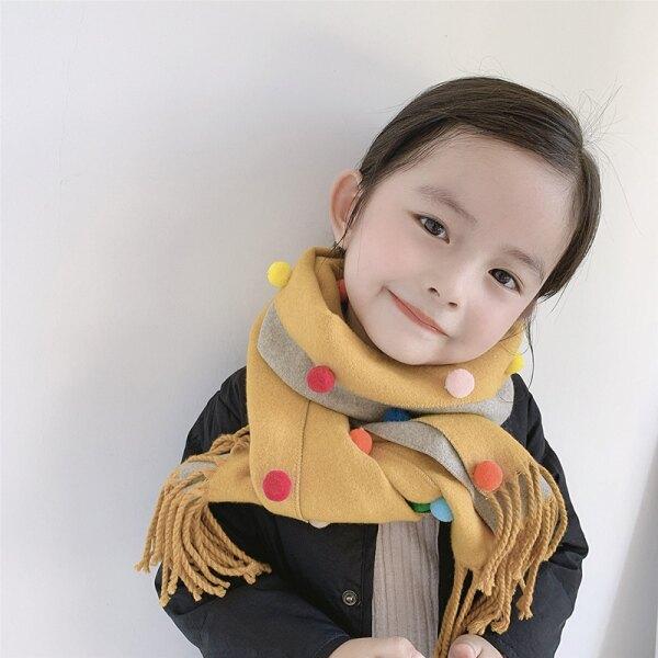 兒童圍巾冬保暖雙面仿羊絨彩豆男童女童時尚百搭兒童圍脖小孩圍巾 新年钜惠