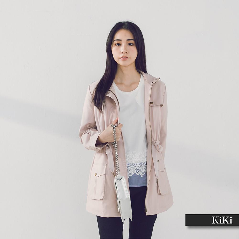 【KiKi】質感繫帶風衣-外套(三色/版型適中)