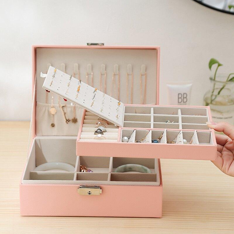 耳釘盒耳環首飾盒雙層帶鎖大容量飾品盒子項鏈戒指手鐲收納整理箱