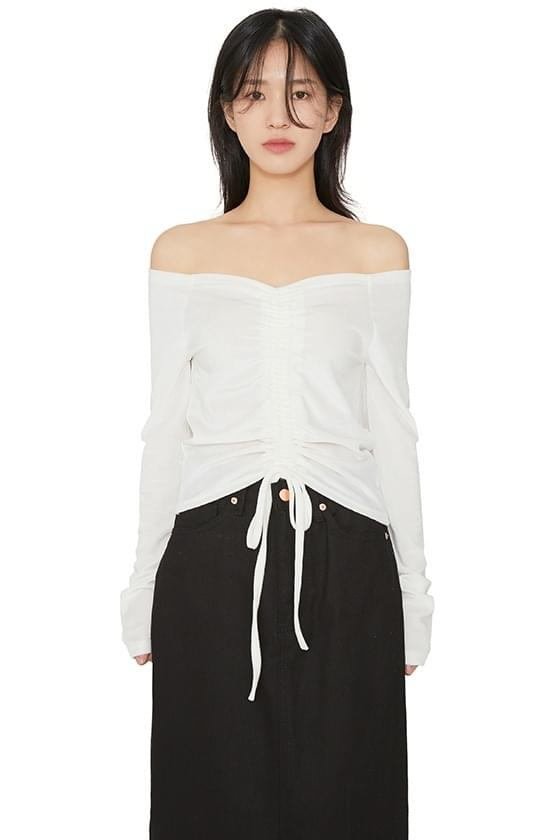 韓國空運 - Hold off shoulder velvet top 長袖上衣