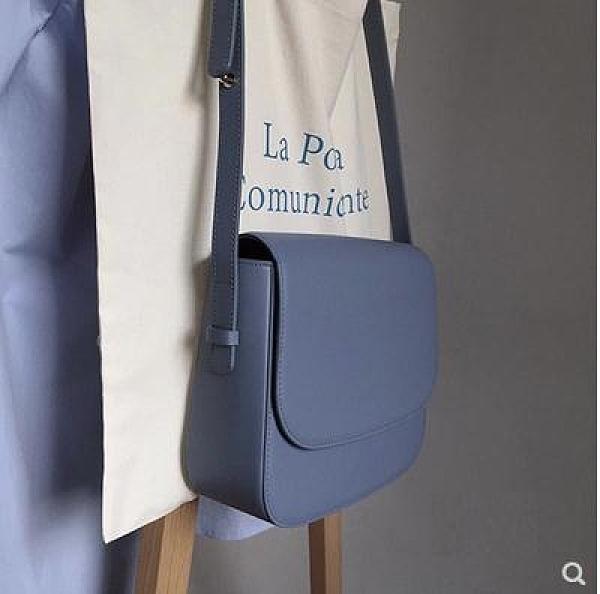 馬鞍包 奶油藍多用翻蓋小方包韓國復古學院純色側背斜背馬鞍包ins女包 源治良品