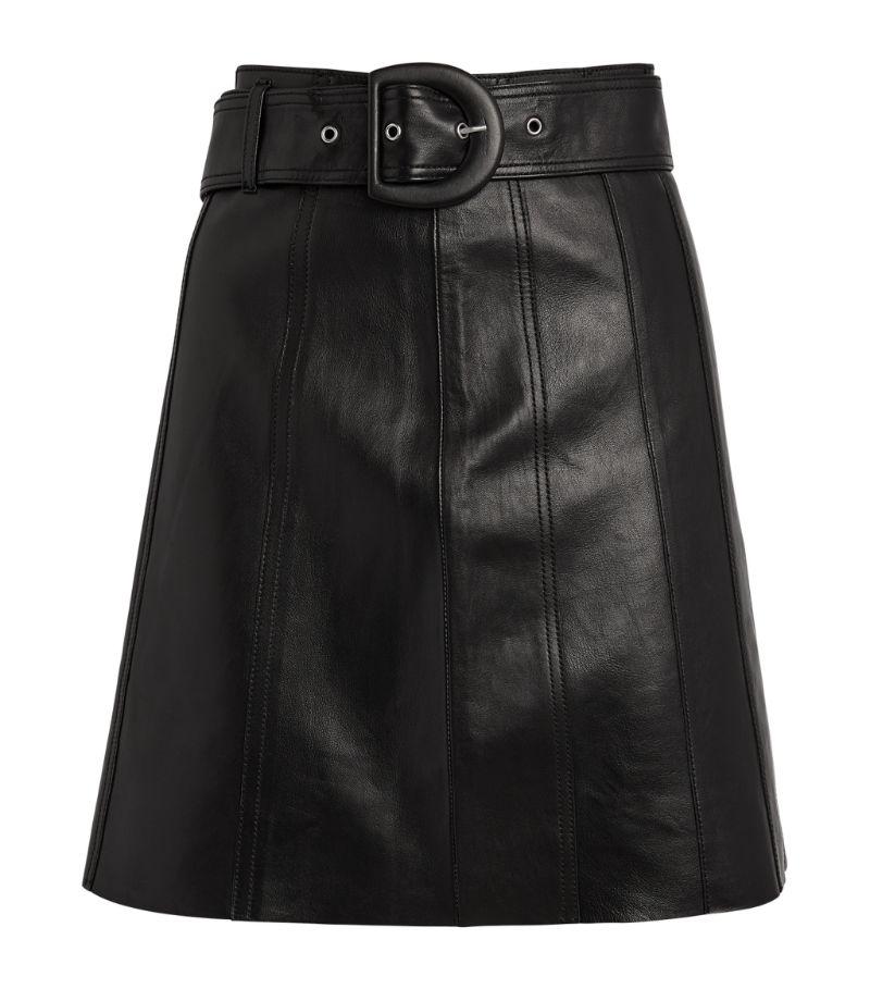 Sandro Paris Leather Belted Mini Skirt