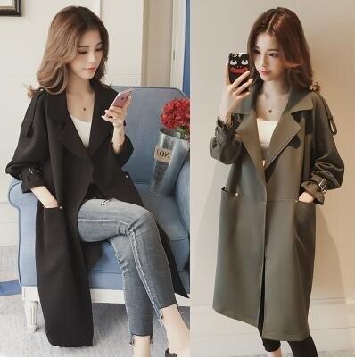 秋季外套女韓版新款寬鬆百搭bf薄款風衣中長款簡約純色大衣潮 全館免運