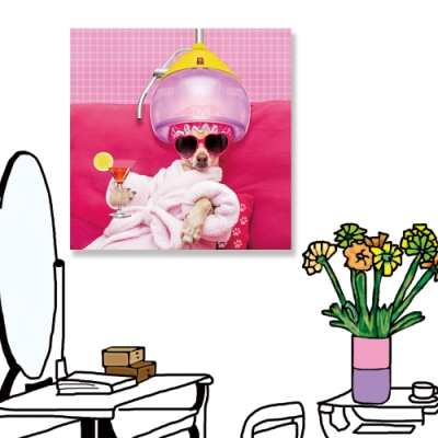 【24mama 掛畫】單聯式 動物 狗 滑稽 雞尾酒 沙龍 搞笑 有趣 無框畫-50x50cm(吉娃娃)