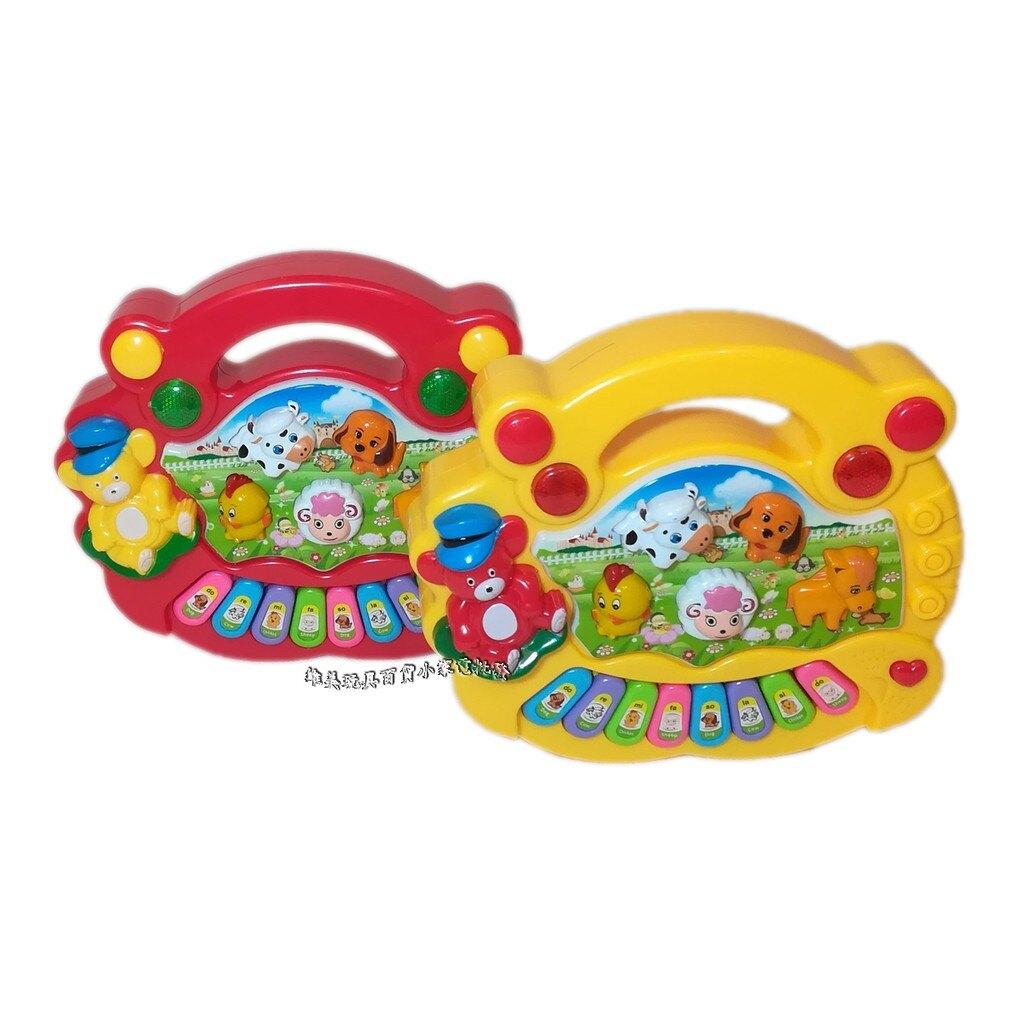 **現貨** 動物農場燈光音樂電子琴**贈送玩具專用電池/兒童電動音樂玩具/電子琴/兒童益智早教琴/農場動物琴