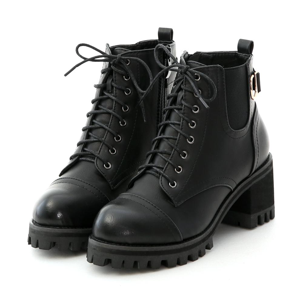 D+AF 勁酷作風.個性綁帶高跟厚底短靴