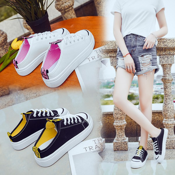 半拖小白鞋女韓版學生無后跟一腳蹬懶人鞋百搭帆布鞋潮