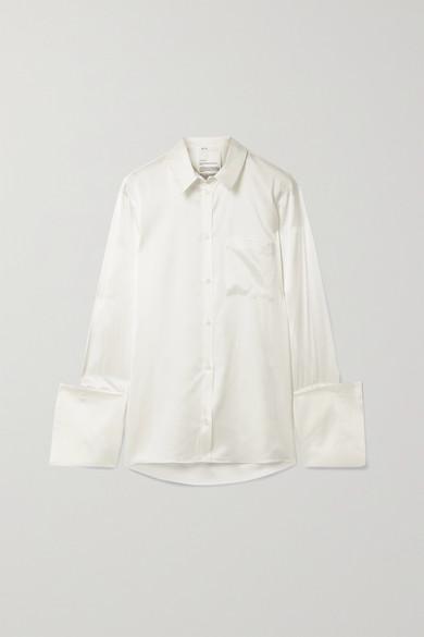 BITE Studios - 【net Sustain】有机丝缎衬衫 - 米白色 - UK14