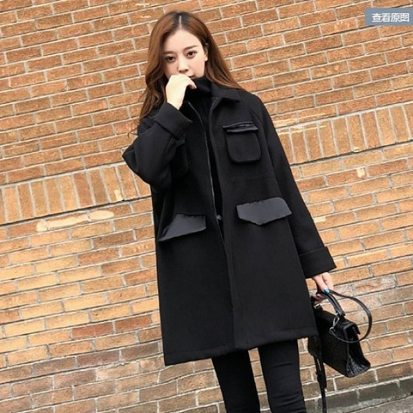 呢子大衣開衫中長版S-2XL赫本大衣中長款韓版寬鬆顯瘦小個子黑色毛呢外套T613A.6851胖丫