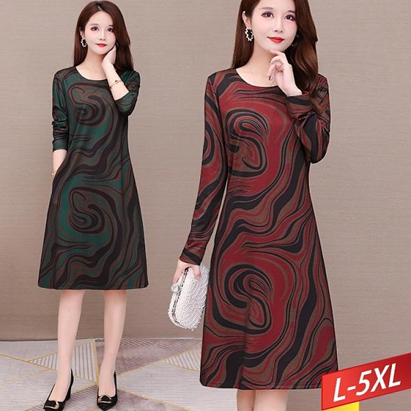 圓領流線印花口袋洋裝(2色) L~5XL【224461W】【現+預】-流行前線-