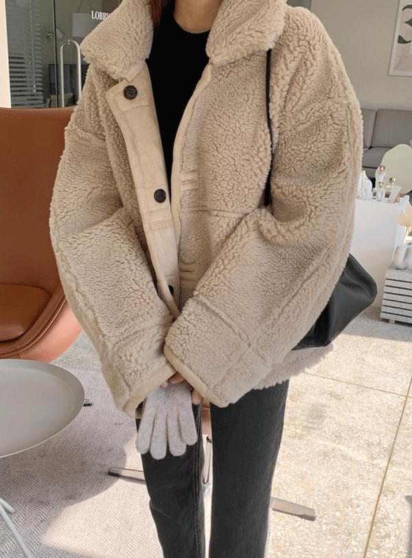 韓國空運 -  雙面式皮革泰迪毛夾克外套