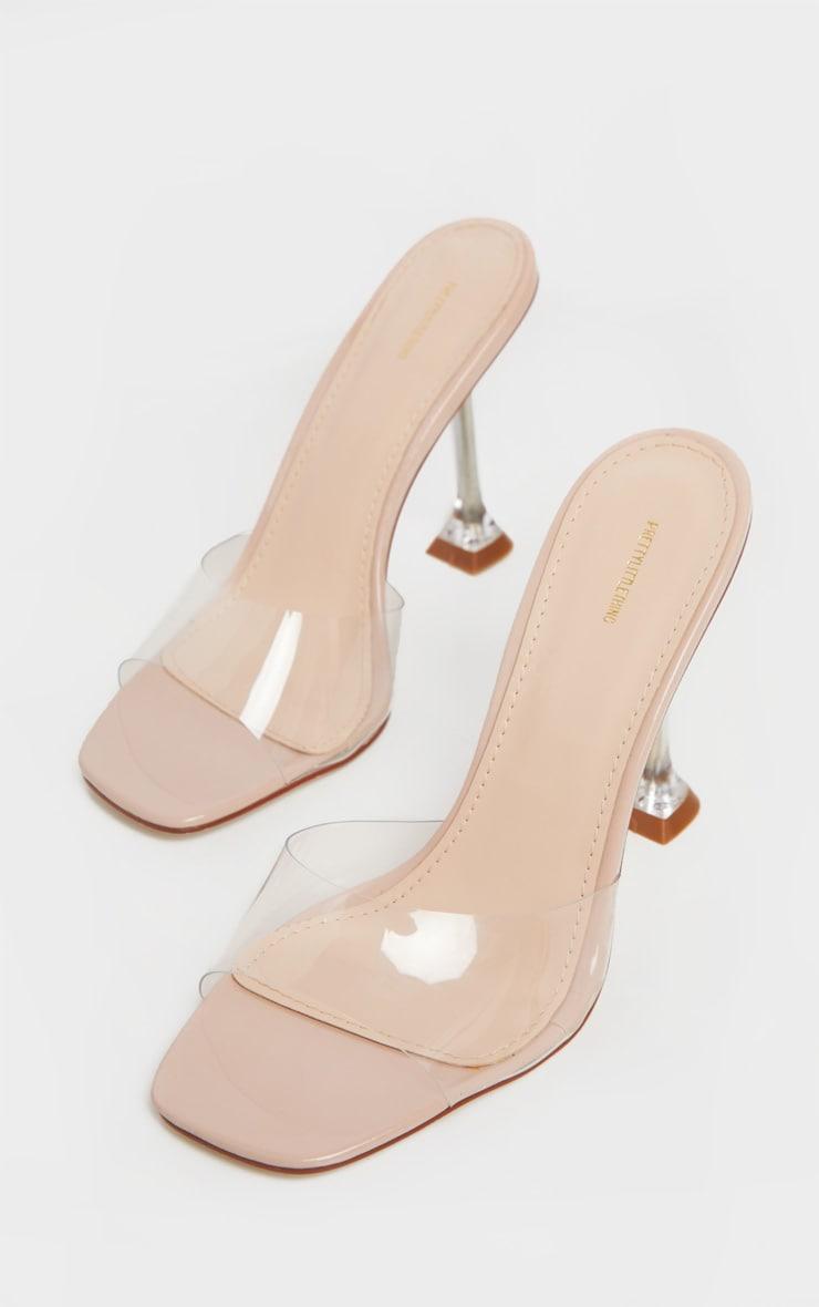 Nude Clear Heel Mule Sandals