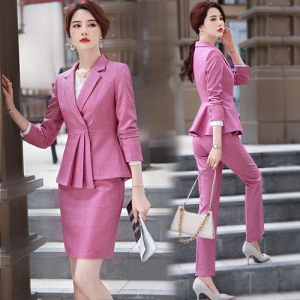 西裝套裝外套+褲/裙(兩件套)-純色免燙修身高雅女西服6款73yz28[巴黎精品]