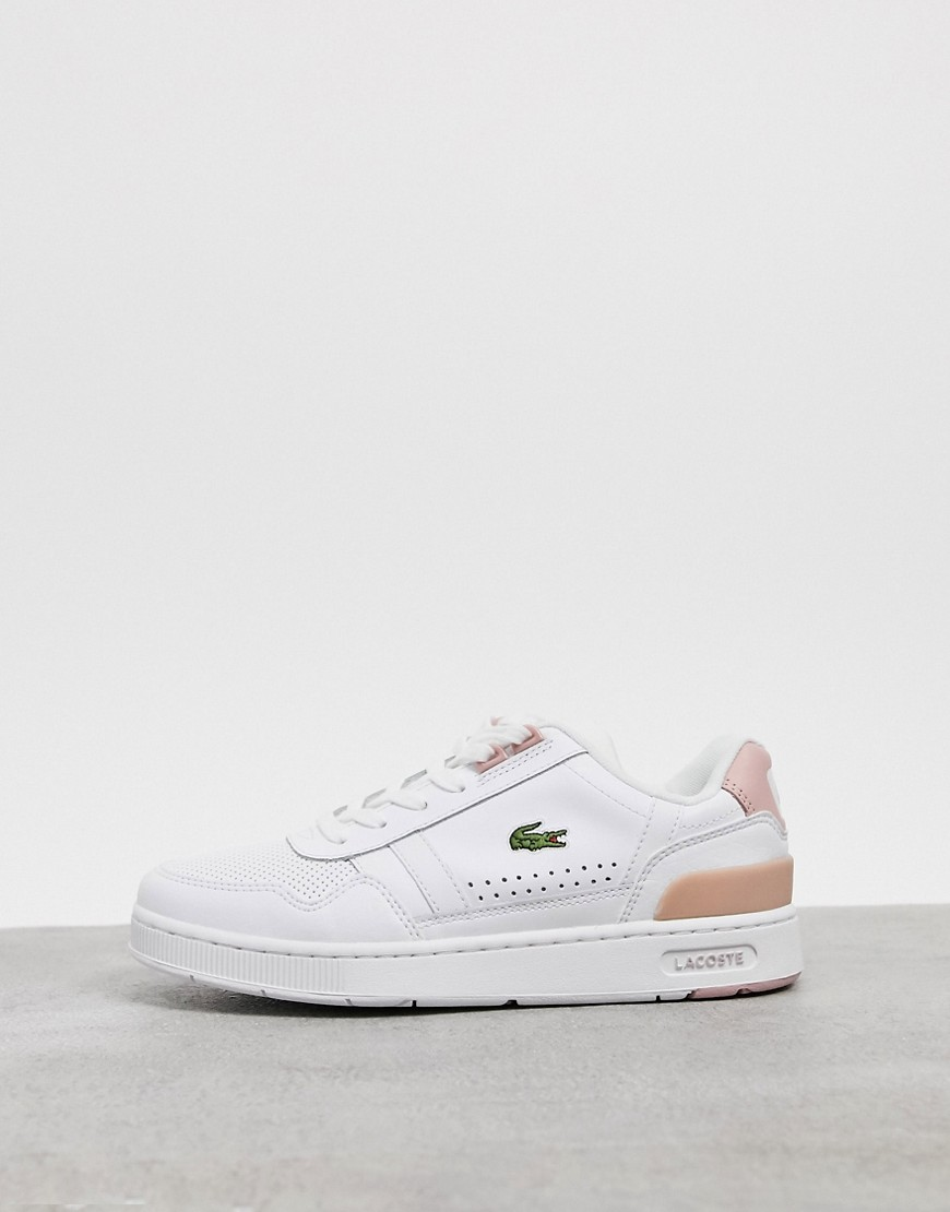 Lacoste T-Clip leather trainers in white and pink