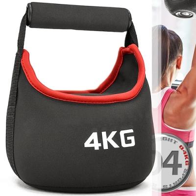 KettleBell安全軟式4公斤壺鈴(旋轉握把)(運動4KG壺鈴競技/負重沙包沙袋/拉環啞鈴沙球/舉重量訓練用品)