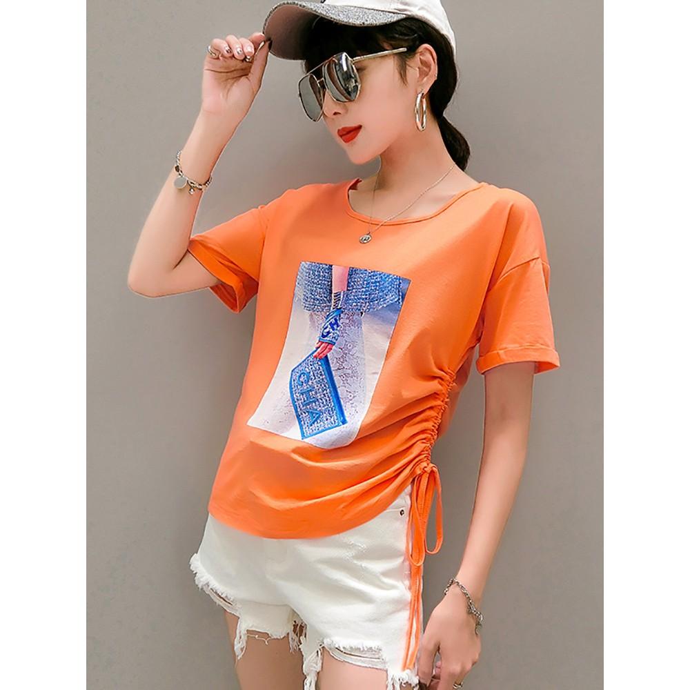 2019夏季時尚新款純棉T恤短袖美背女上衣顯瘦百搭字母半袖體桖潮