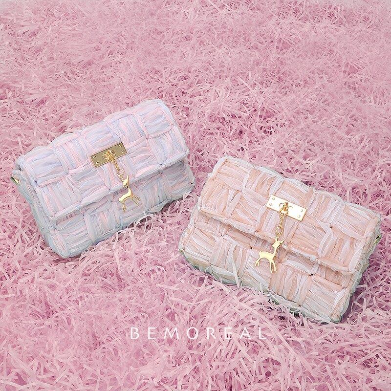編織女包diy自制成品手織包包送女朋友材料包毛絨手工編織包包