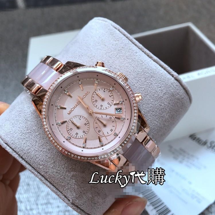 【X】Michael kors MK手錶 玫瑰金間膠白色陶瓷鑲鑽三眼計時日曆防水女錶MK6307118241050
