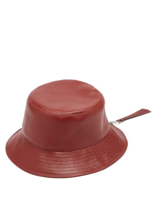 Loewe - Fisherman Leather Bucket Hat - Womens - Red