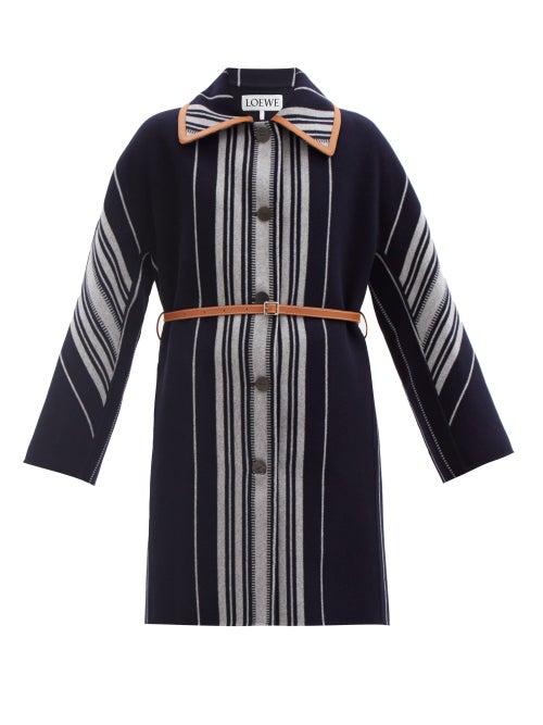 Loewe - Belted Striped Wool-blend Coat - Womens - Blue Stripe