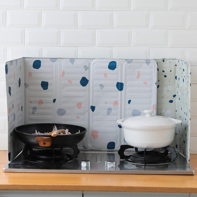 廚房擋油板 廚房擋油板煤氣灶台耐高溫不銹鋼防油擋板炒菜防濺油機隔熱擋板『J8203』
