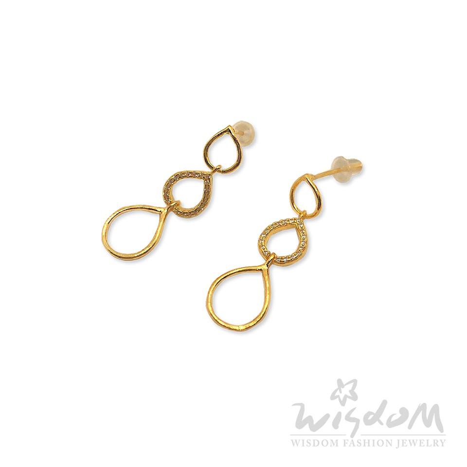 威世登 黃金鑲石垂吊式耳環(附矽膠耳束) 情人節禮物 保值 金重約0.90~0.93錢 GF00613-AGXX-FIX