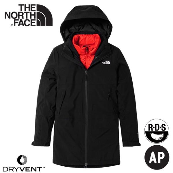 【The North Face 女 二件式防風透氣羽絨外套《黑/粉橘》】4NAI/保暖連帽外套/防潑水/休閒外/悠遊山水