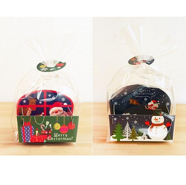 10入 聖誕節 封口夾+底托+透明袋包裝組 包裝袋 點心袋 塑料袋 餅乾袋 糖果袋【X109】