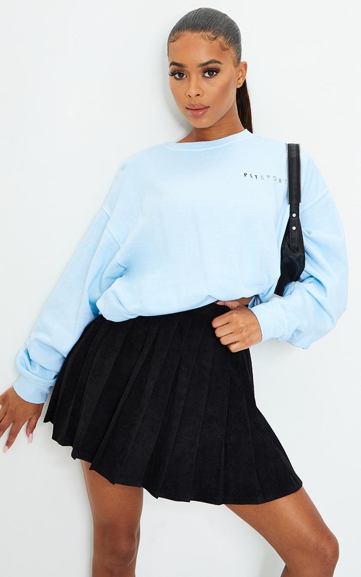 Black Cord Pleated Skater Skirt