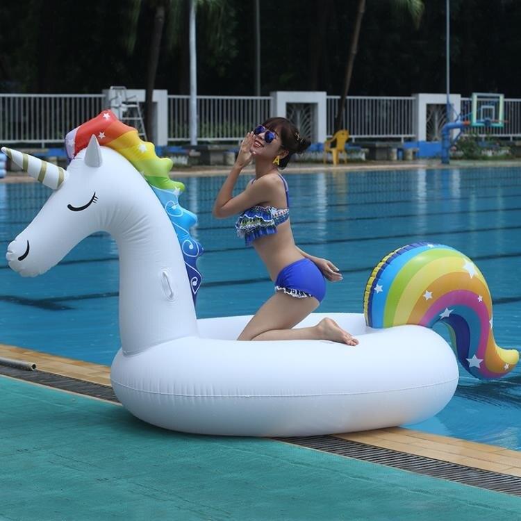【現貨】泳圈 新款網紅大號星星獨角獸游泳圈充氣動物坐騎大人小孩水上漂浮玩具 快速出貨