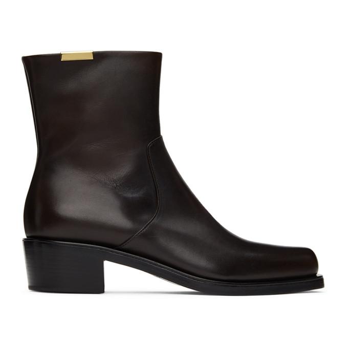 Rochas Homme 棕色拉链中筒靴