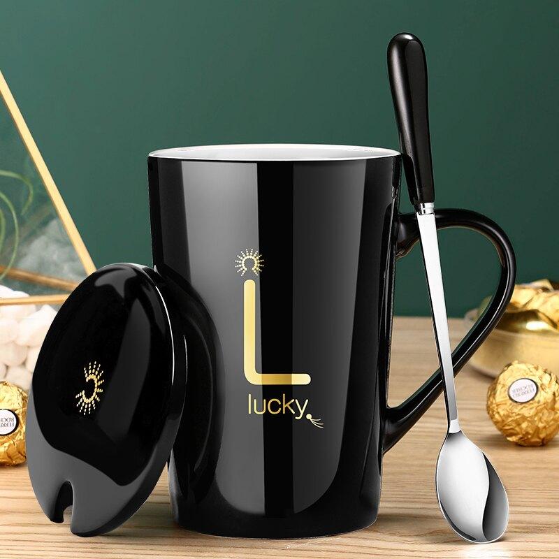 創意陶瓷馬克杯帶蓋勺杯子個性潮流情侶男女牛奶咖啡茶杯家用水杯