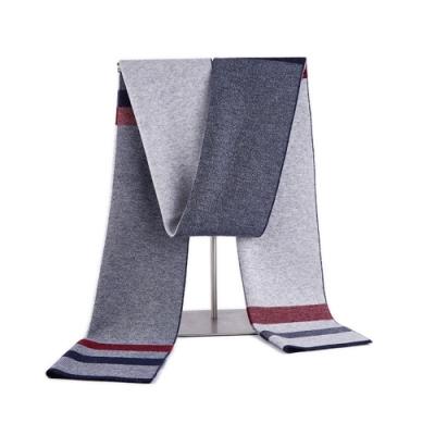 米蘭精品 羊毛圍巾-保暖拼色針織提花男披肩情人節生日禮物3色73wh54