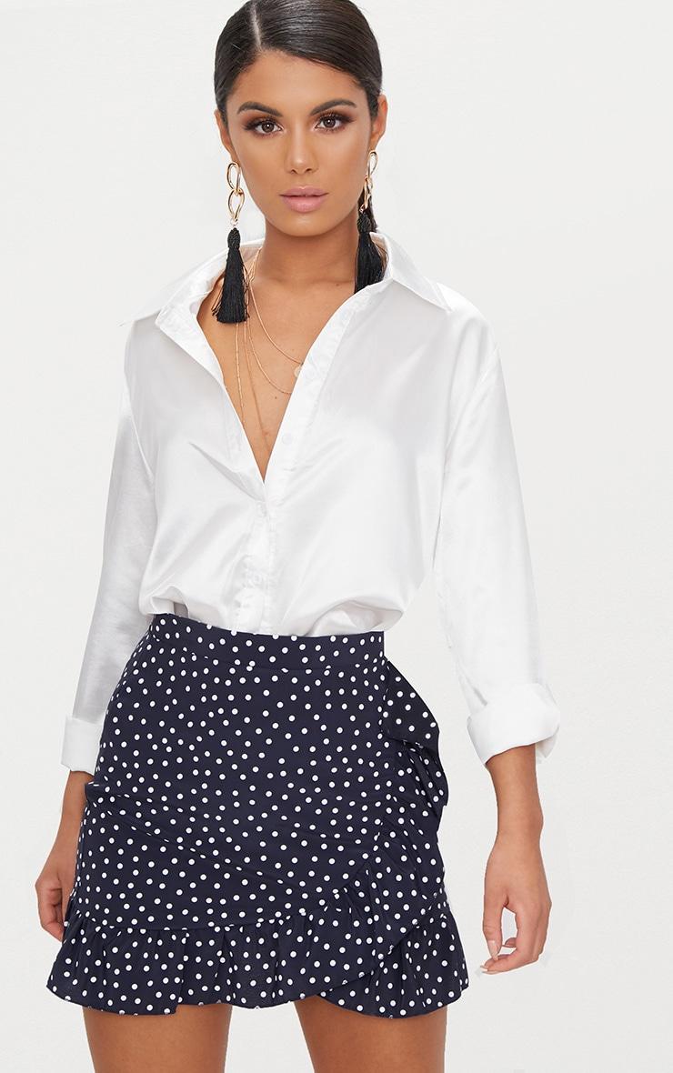Navy Spot Print Frill Hem Wrap Mini Skirt
