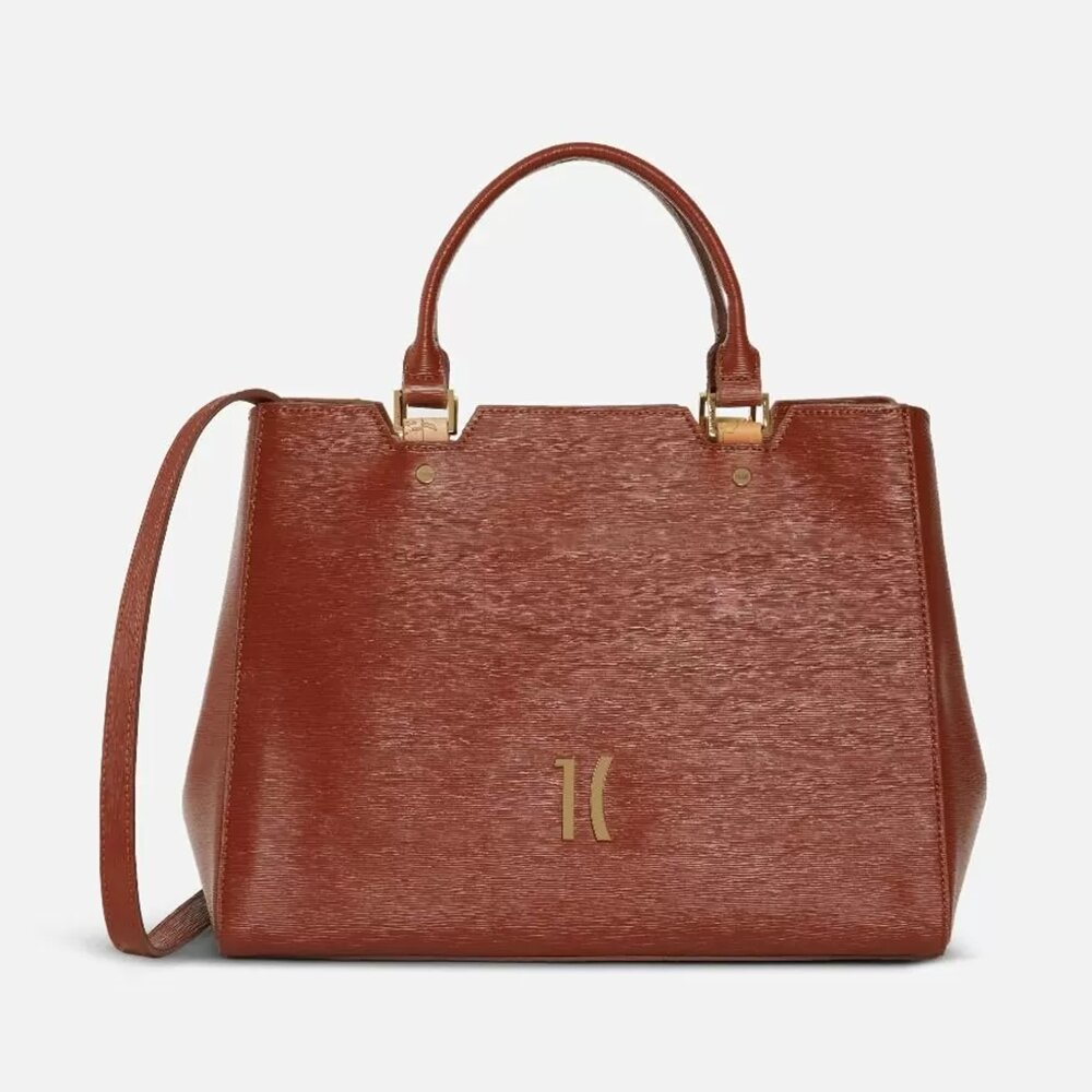 【Alviero Martini 義大利地圖包】簡約時尚系列 素面波紋手提側背包-咖啡
