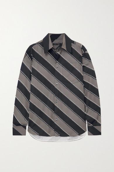 Meryll Rogge - 大廓形水晶缀饰条纹纯棉府绸衬衫 - 灰色 - FR36